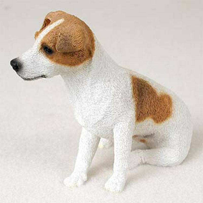 Jack Russell Terrier Figurine Hand Painted Collectible Statue Brown/Wht Smooth