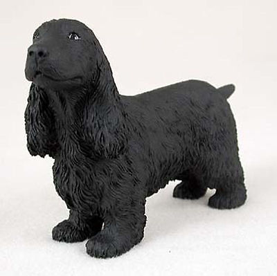 (English Cocker Spaniel Figurine Hand Painted Collectible Statue Black)