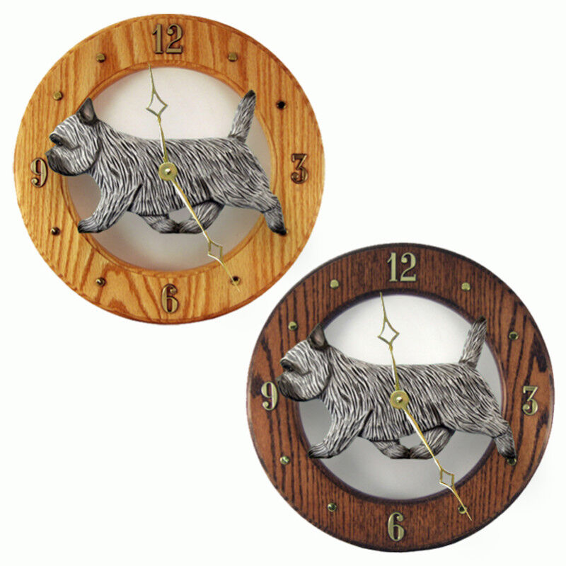 Cairn Terrier Wood Clock Light Grey