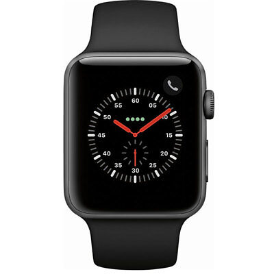 Apple Watch Series 3 GPS/Cellular 42MM Space Gray and Black Sport Band MQK22LL/A