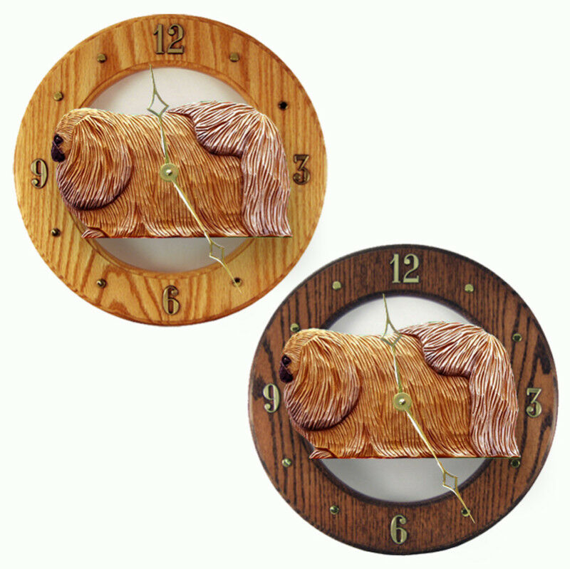Pekingese Wood Clock Sable