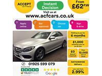 2014 SILVER MERCEDES C220 2.1 BLUETEC AMG LINE SALOON CAR FINANCE FR £62 PW