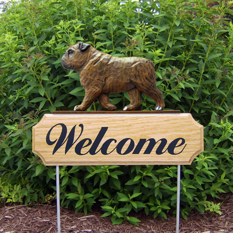 English Bulldog Wood Welcome Outdoor Sign Brindle