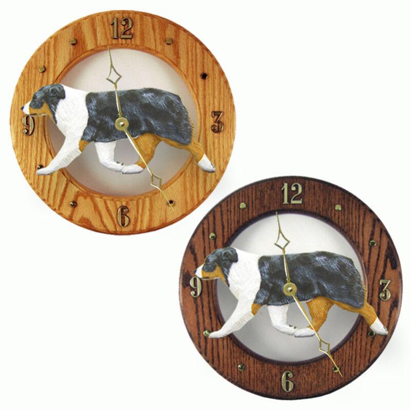 Australian Shepherd Wood Clock Blue