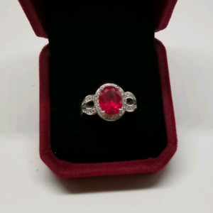 Large ruby and white sapphire 14k gold ring
