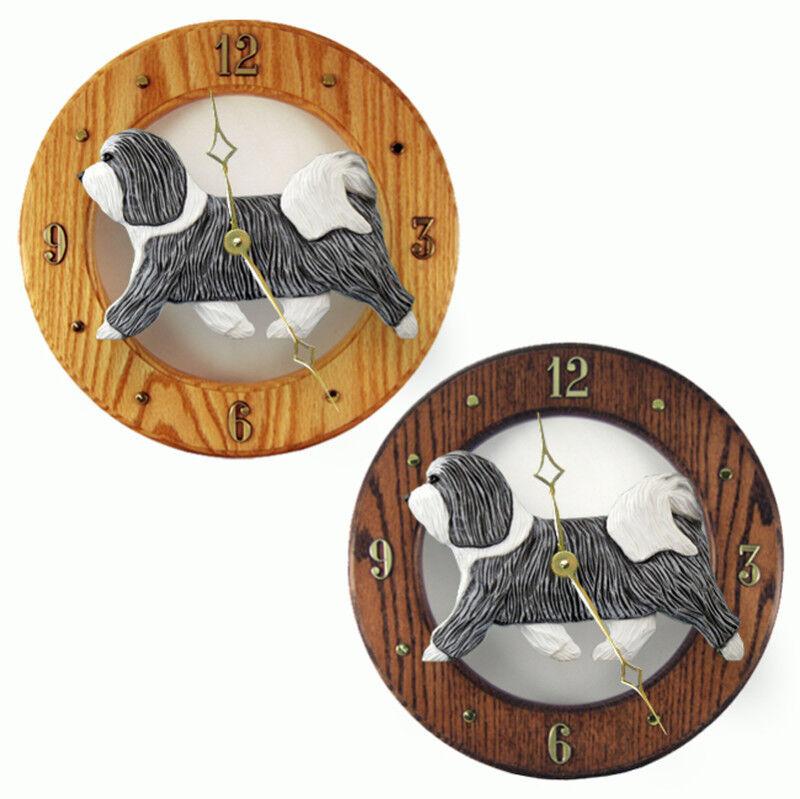 Havanese Wood Clock Grey/White
