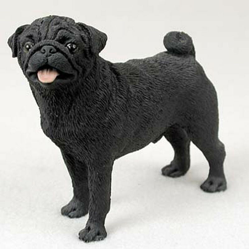 Pug Figurine Hand Painted Collectible Statue Black