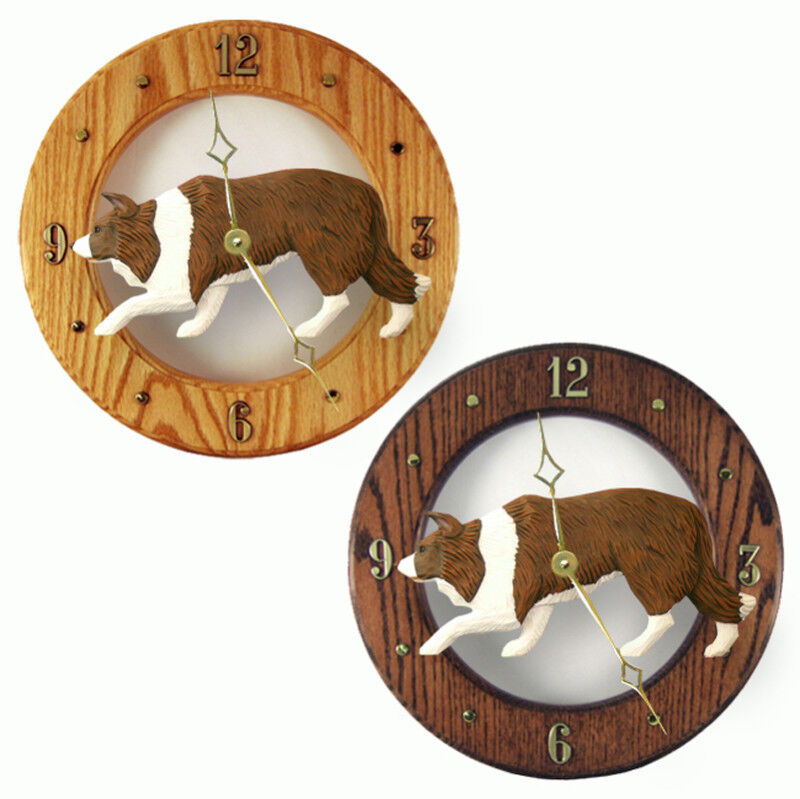 Border Collie Wood Clock Red