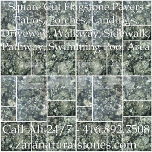 Green Granite Square Cut Flagstone Indian Stone Patio Flagstone