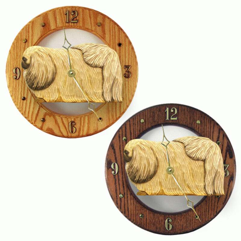 Pekingese Wood Clock Fawn