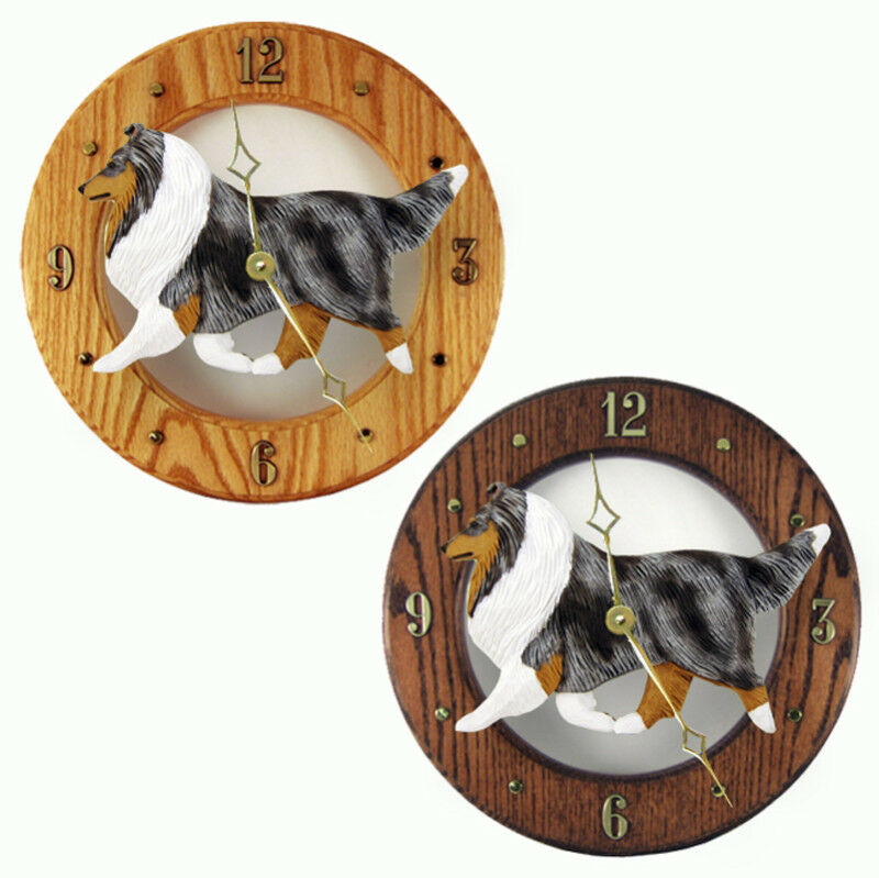 Sheltie Wood Clock Blue
