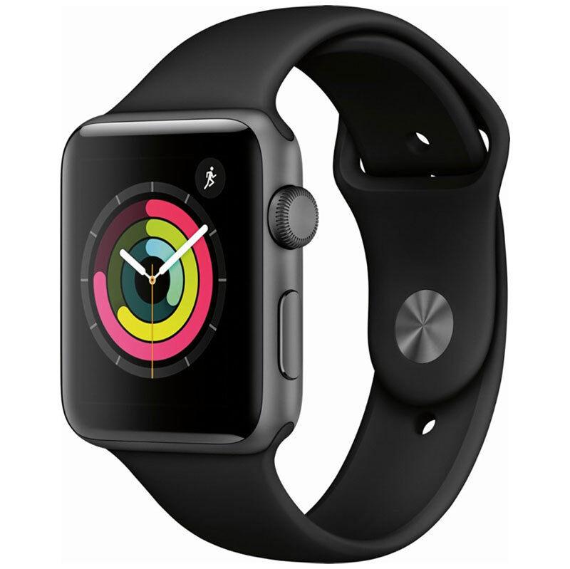 Apple Watch Series 3 42mm Space Gray Aluminum Black Sport Band MQL12LL/A