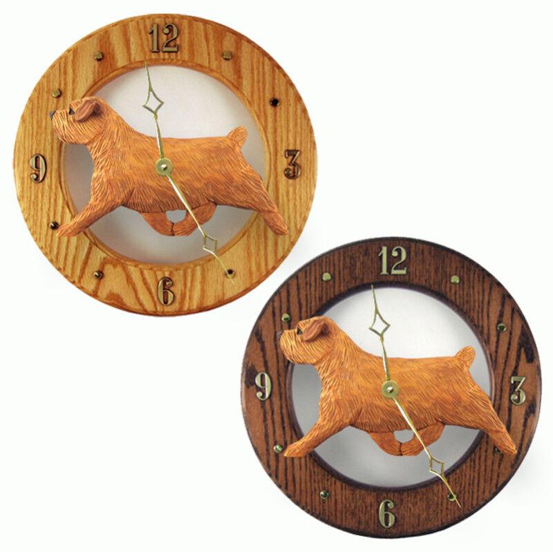 Norfolk Terrier Wood Clock Red