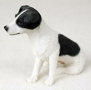 Jack Russell Terrier Figurine Hand Painted Collectible Statue Black Smooth