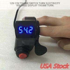 12V-72V E-Bike Universal Thumb Throttle LED Voltage For Scooter Electric Bike US
