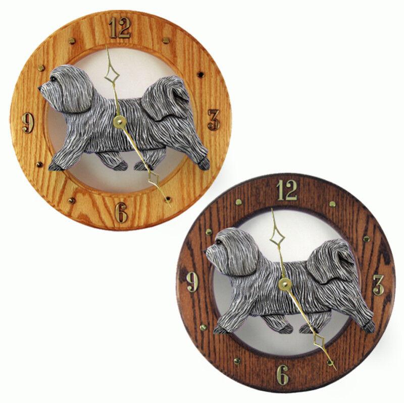 Havanese Wood Clock Light Gray