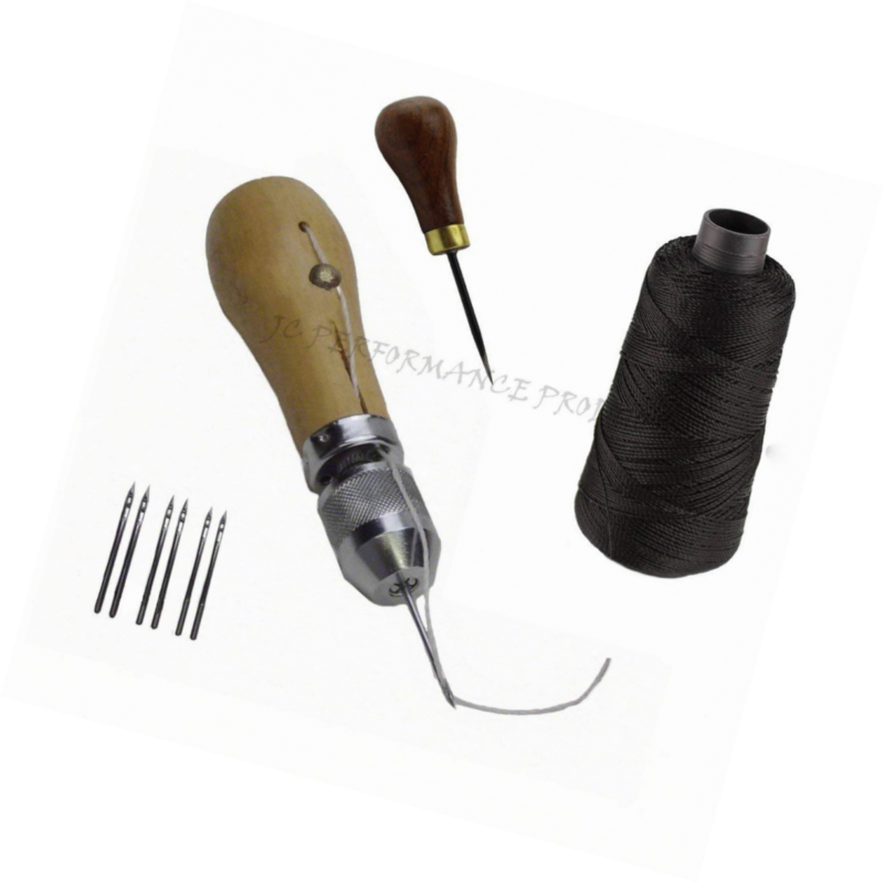 With Awl, Light Brown JC Performance Leather Sewing Awl Quick Stitch Repair Tool Set Heavy Duty Thread