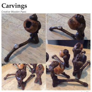 Unique Gift Ideas:  Wooden Carved Pipes and Miniature Guitars