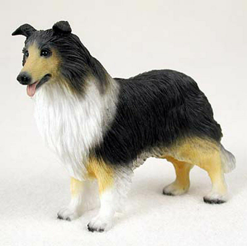 Collie Figurine Hand Painted Collectible Statue Tri Color