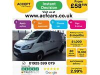 2017 WHITE FORD TRANSIT CUSTOM 2.0 TDCI 105 290 LWB VAN CAR FINANCE FR £58 PW