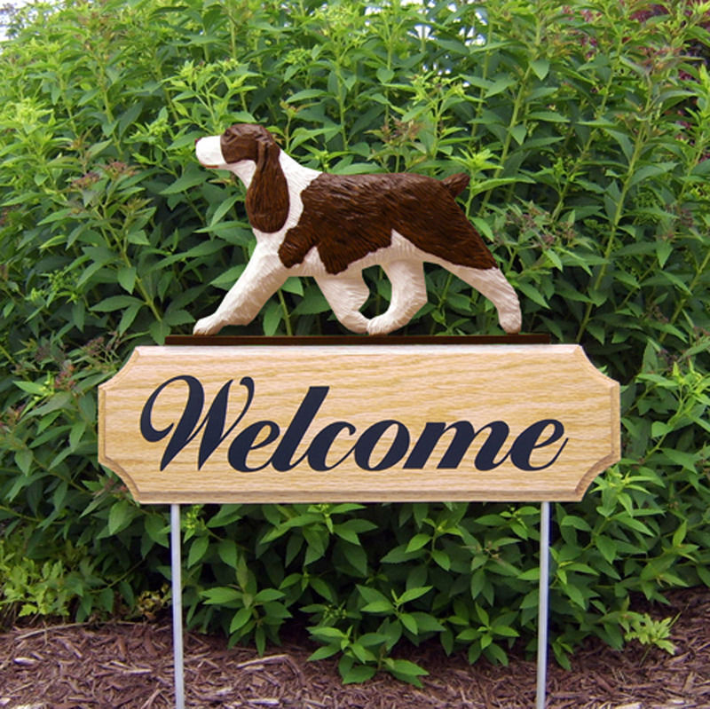 English Springer Spaniel Wood Welcome Outdoor Sign Liver