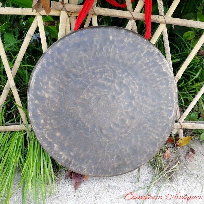 50cm Tibetan Temple Buddhist Ritual Chinese Lion Gong Bell Bronze Faqi 開道鑼#1605
