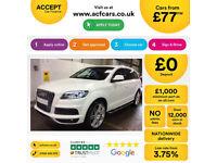 White AUDI Q7 3.0 TDI Diesel QUATTRO S LINE FROM £77 PER WEEK!