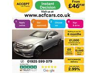 2012 SILVER MERCEDES C220 2.1 CDI AMG SPORT PLUS COUPE CAR FINANCE FR £46 PW