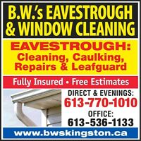 #1 FOR: EAVESTROUGH REPAIRS,CAULKING,CLEANING & LEAFGUARD