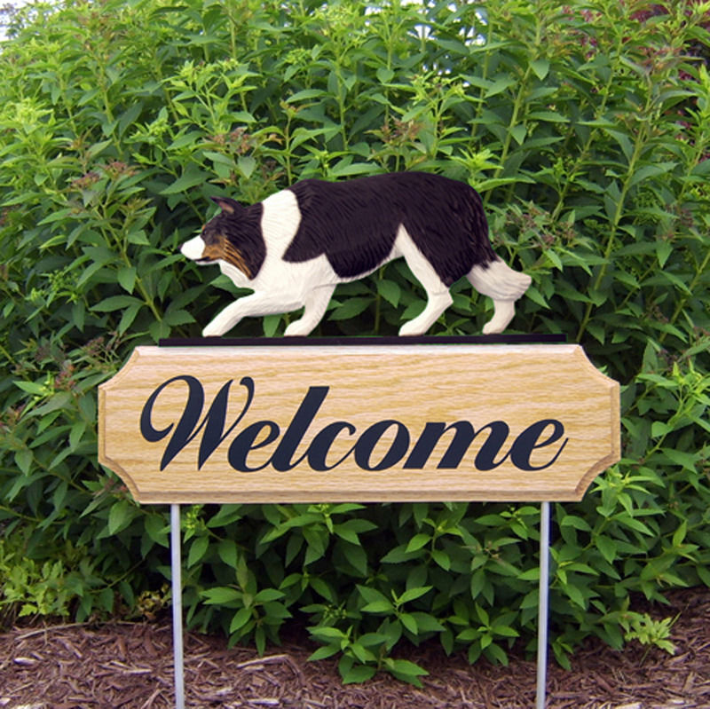 Border Collie Wood Welcome Outdoor Sign Black Tri