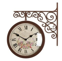 Antique Art Design Double Sided Wall Clock Station Clock Home Decor - Flower5BR