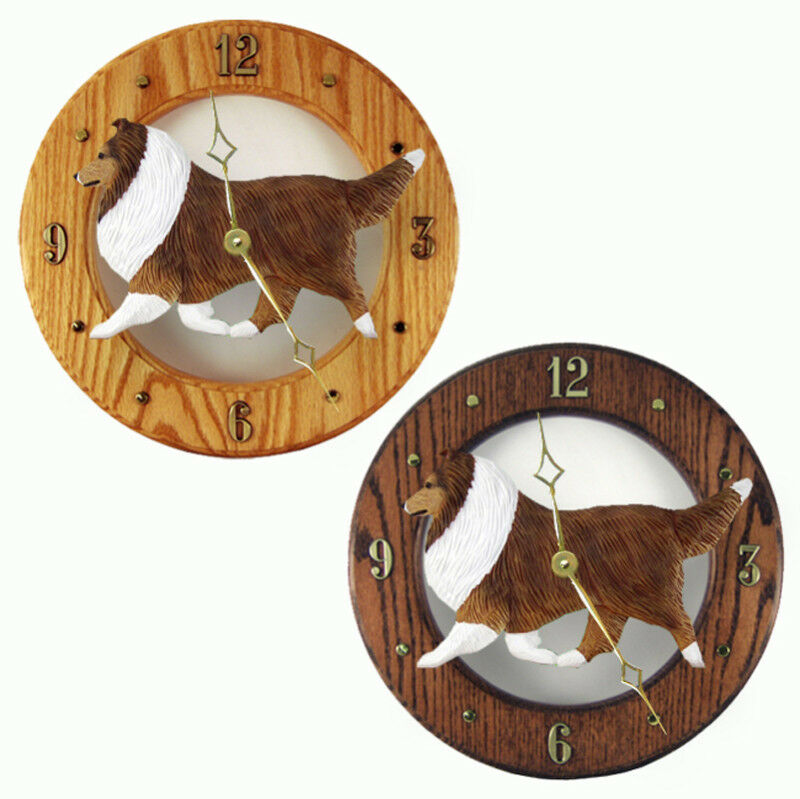 Sheltie Wood Clock Sable