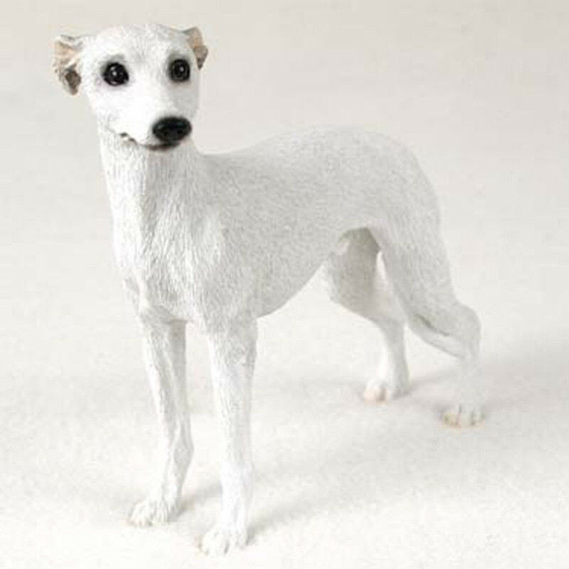 Whippet Figurine Hand Painted Collectible Statue White