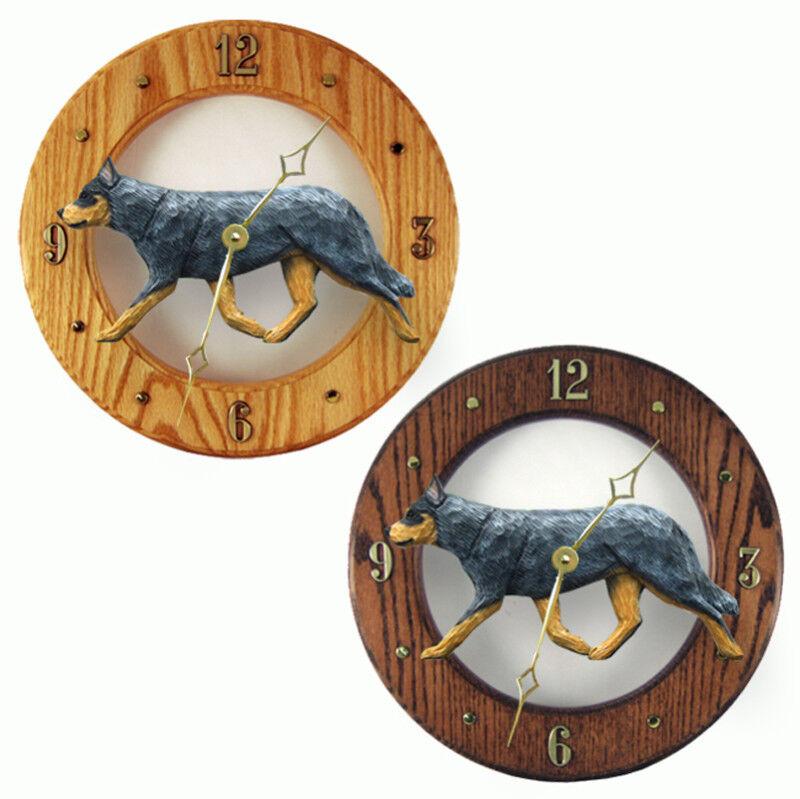 Australian Cattle Dog Wood Clock Blue