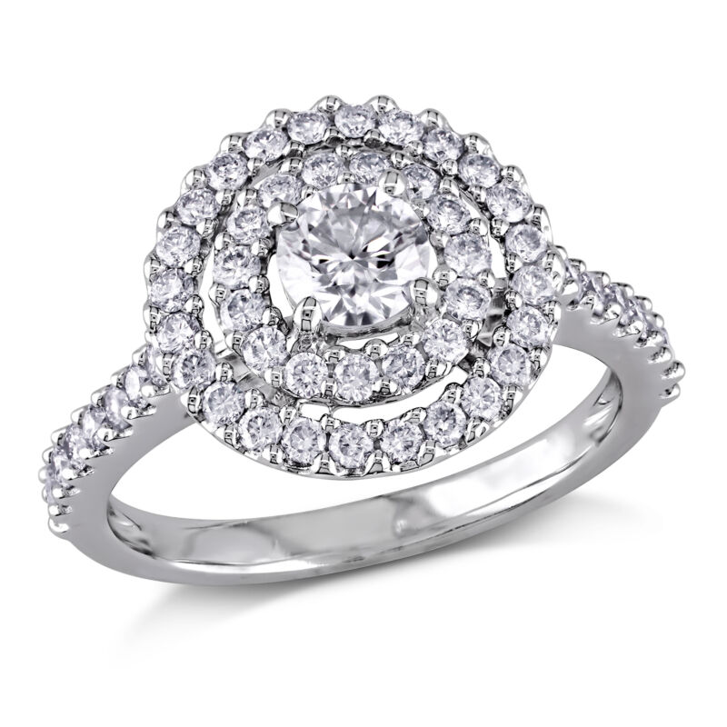 Amour 1 Ct Tw Diamond Ring Halo Engagement Ring In 14k White Gold