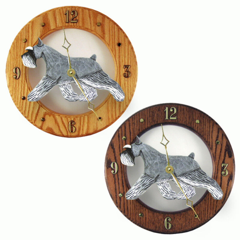 Schnauzer Wood Clock Salt/Pep