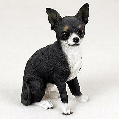 Chihuahua Hand Painted Collectible Dog Figurine Statue Black & White