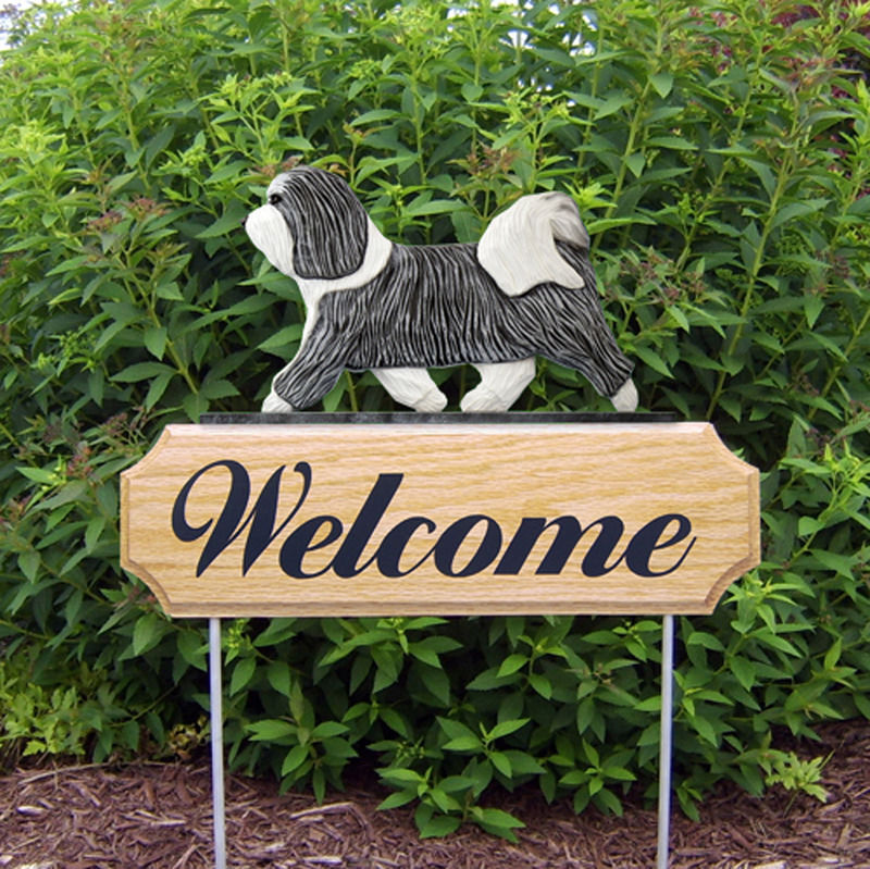 Havanese Wood Welcome Outdoor Sign Grey/White