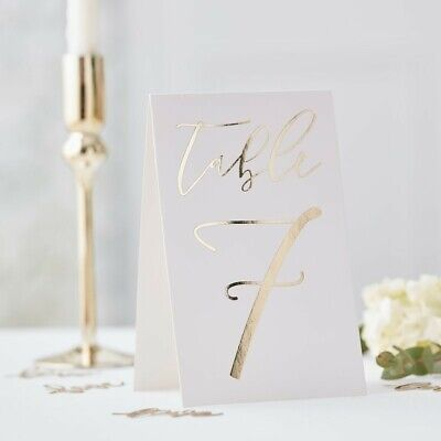 Gold Wedding Table Numbers (TABLE CARD NUMBERS 1-12 - GOLD WEDDING, Table Decoration, Venue Deco, Hen)
