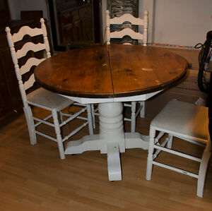 Dining table with four chairs, small desk/table and china hutch
