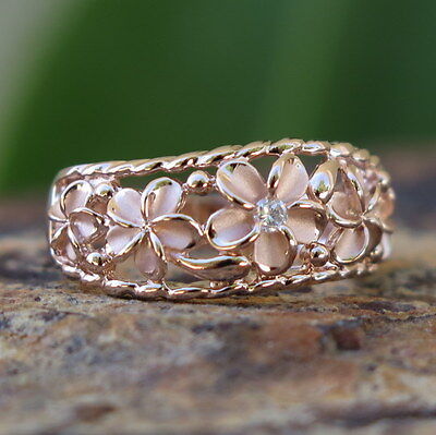 (Hawaiian Silver Pink Gold Five Plumeria Flowers CZ Wedding Ring Band 8mm SR3249)