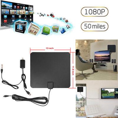Flat HD Digital Indoor Amplified TV Antenna HDTV Amplifier 50 Miles Range DE