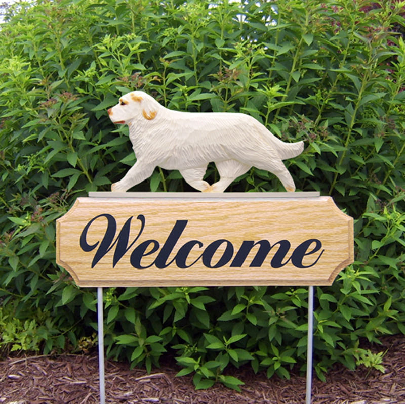 Clumber Spaniel Wood Welcome Outdoor Sign Orange