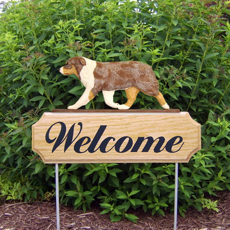 Australian Shepherd Wood Welcome Outdoor Sign Red Merle