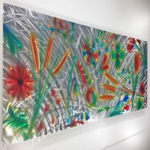 Modern Huge Art Aluminum  Flowers colourful Canada made by Lubo