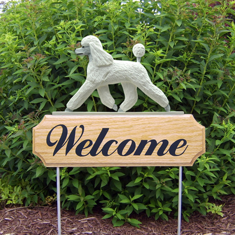 Poodle Wood Welcome Outdoor Sign White