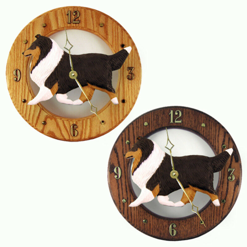 Sheltie Wood Clock Tri