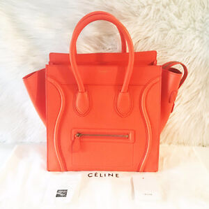 Céline Mini Luggage in Vermillion