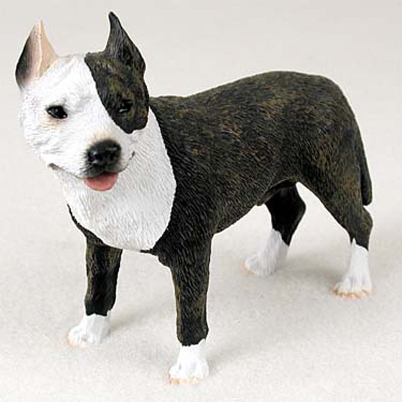 Pitbull Figurine Hand Painted Collectible Statue Brindle
