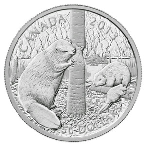 Canada 2013 $50 The Beaver 5 oz. 99.99% Pure Silver Proof Coin